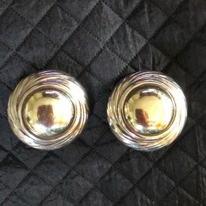 Vtg Large Sterling Silver & Gold Clio-On Earrings